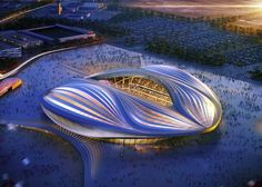 Architectural mock-ups of a stadium for the Qatar 2022 World Cup