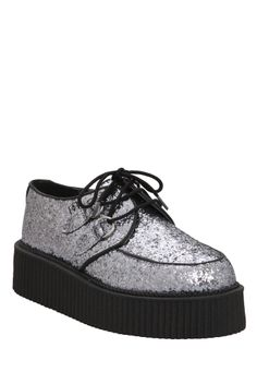 cec5032ef942 Silver chunk glitter upper with black piping and silver metal D-rings for  lacing up