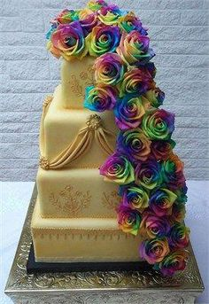 This cake was designed with this concept in mind. The rainbow is formed using rainbow roses which are stunning. Yes, they are real! Wedding Cake Roses, Beautiful Wedding Cakes, Wedding Cake Toppers, Beautiful Cakes, Amazing Cakes, Perfect Wedding, Rainbow Roses, Wedding Cake Designs, Wedding Ideas