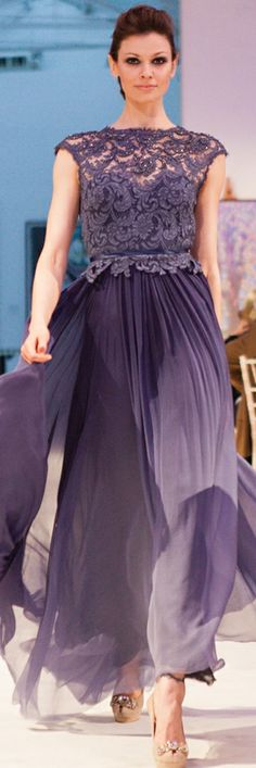 Lace bodice with flowing skirt in lavender