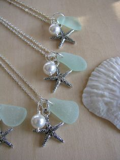Sea Glass Jewelry Starfish Necklace Pale Blue by BostonSeaglass