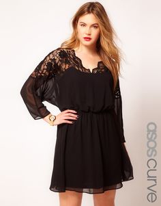 ASOS CURVE Skater Dress With Lace Top And Scallop Neck