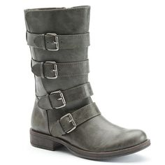 SO® Women's Strappy Buckled Moto Boots