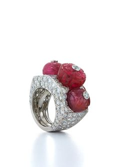 David Webb New York - Carved ruby beads, brilliant-cut diamonds, 18K white gold, and platinum