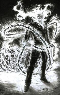 Ghost Rider by Ryan Pasibe Ghost Rider Drawing, Ghost Rider 2099, Ghost Rider Marvel, Ghost Rider Tattoo, Ghost Rider Wallpaper, Marvel Wallpaper, Comic Books Art, Comic Art, Ghost Raider