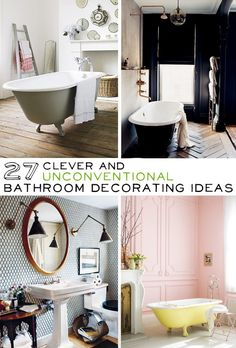 lots of bathroom ideas. many of these are floating around pinterest individually, but it's great to have them all on one page.