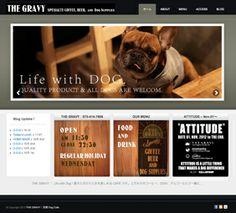 【ドッグカフェ  THE GRAVY様】 http://thegravy-attitude.com   WORDPRESSをベースに 更新管理のしやすさを重視し作成。 デザイン面ではドッグカフェならではのイメージ感が漂う様に、写真素材のレイアウトと、その追加や更新のしやすさも、制作提案として含まれています。