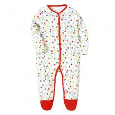 Unisex Baby Footed Pajamas Color Dot Long Sleeve Romper 3-12 Months