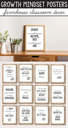 These growth mindset posters for kids and teachers will look great in your rustic or farmhouse themed classroom decor. They will help you add a little something to your lessons for preschool, kindergarten, first grade (1st grade), elementary and middle school.A great alternative to the old banner or pennant, this display of affirmations and quotes for students will help them set goals and learn the difference between fixed vs growth mindset.These farmhouse decorations can be hanged by the…
