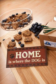 Blueberry Boneanza treats!  They're delicious!  Shhh!  Don't tell your pup that they're super healthy and gluten free!