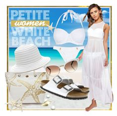 """""""Petite Women: White Beach"""" by geewhizart ❤ liked on Polyvore featuring Boohoo, Kim Rogers, New Look, Gucci and Birkenstock"""