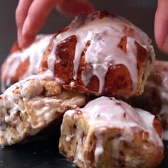 Molten Cinnamon Rolls Recipe by Tasty Here's what you need: cinnamon roll dough, cream cheese, granulated sugar, vanilla extract, milk Cinnamon Roll Dough, Cinnamon Roll Waffles, Cinnamon Rolls, Cake Recipes, Dessert Recipes, Desserts, Easy Brunch Menu, Rolls Recipe, Delicious Chocolate