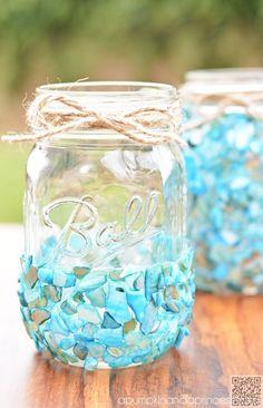 26. #Beach Inspired #Mason Jar Craft - 36 Marvelous Mason Jar #Crafts You Won't Be Able to Get Enough of ... → DIY #Craft