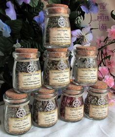 Set of Witchs Herbs Jars, Sacred Herbs, Wiccan Herb Jars, Herbal Witchcraft, Hoodoo Herbs, Witchs Cupboard Jars, Corked Herb Jars