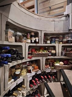 Spiral wine cellar. Store wine or food.