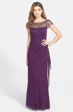 Beaded yoke drape gown