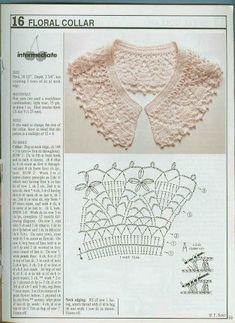 Crochet Collar Pattern, Col Crochet, Crochet Lace Collar, Crochet Lace Edging, Crochet Flower Patterns, Crochet Diagram, Crochet Blouse, Crochet Chart, Thread Crochet