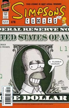 A money shows Homer Simpson on it, as a president with portrait, in black and white.