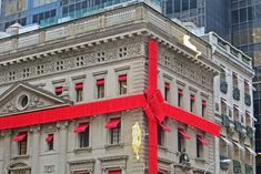 #bow #building #christmas #city #gift #new york #old building #present #red #ribbon #shopping #wrapping