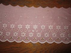 Pink Eyelet Fabric Trim SELL BY YARD by VintageSouthernPicks