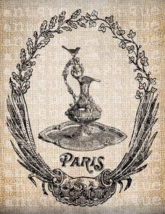Antique French Frame Paris Pitcher Ornate Digital Download for Tea Towels, Papercrafts, Transfer, Pillows, etc Burlap  No 5051. $1.00, via Etsy.
