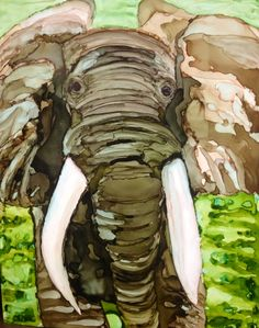 Elephant in alcohol ink
