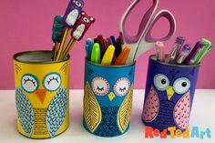 DIY Tin Can Owls - Desk Tidy Tin Can Crafts, Owl Crafts, Easy Crafts For Kids, Easy Diy Crafts, Diy For Kids, Kids Fun, Cute Art Projects, Diy Projects, Pot A Crayon