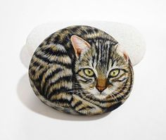 Hand Painted Stone Cat   Is Painted with high by KanetisStones