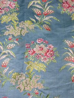Antique french flowered silk