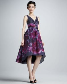 Neiman Marcus ForTarget Lela Rose Purple Floral Watercolor Silk/Cotton Dress NWT #NeimanMarcus #Sundress #Cocktail
