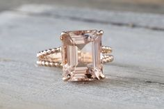 5.67 carats 14k Rose Gold Elongated Emerald Cut Pink Peach Morganite Split Shank Rope Engagement Promise Ring Rope Bead Vintage by ASweetPear on Etsy https://www.etsy.com/listing/478997438/567-carats-14k-rose-gold-elongated
