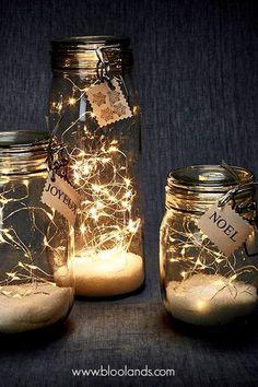 Guirlande LED lumineuse - - Happy Christmas - Noel 2020 ideas-Happy New Year-Christmas Winter Christmas, Christmas Home, Christmas Crafts, Fall Crafts, Fall Winter, Glass Jars, Mason Jars, Bedroom Decor Lights, Deco Table Noel