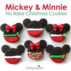 Mickey and Minnie Oreo Christmas Cookies.these are the BEST Christmas Cookie Recipes! Best Christmas Cookie Recipe, Best Cookie Recipes, Holiday Cookies, Christmas Treats, Christmas Fun, Christmas Goodies, Christmas Cakes, Christmas Desserts, Holiday Treats