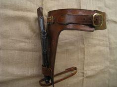 leather belt with leg holster BELT   Custom Made Mare's Leg Holster