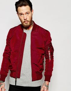 Image 1 of Alpha Industries MA1 Bomber Jacket Slim Fit in Burgundy