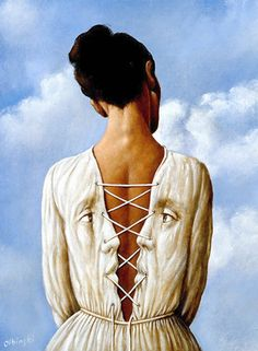 """She Stoops to Folly"" - Rafal Olbinski (Polish, b. 1943), oil on canvas {figurative surreal art female back two profiles woman painting}"