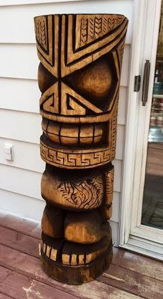 Here are some of my recently carved Tikis - .- Hier sind einige meiner kürzlich geschnitzten Tikis – Here are some of my recently carved Tikis – - Tiki Tattoo, Wood Carving Art, Wood Art, Totems, Tiki Man, Tiki Tiki, Wood Sculpture, Sculptures, Tiki Pole