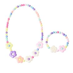 7 Style Acrylic Kids Jewelry Candy Colors Bubblegum Flower Shaped Necklace and Bracelet Bangle Set for Children Girl Gift