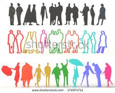 Sets of rough silhouette and colorful people in various characteristic, create by 3D