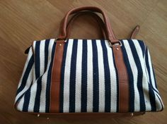 Navy & white striped handbag   www.facebook.com/artifactboutique