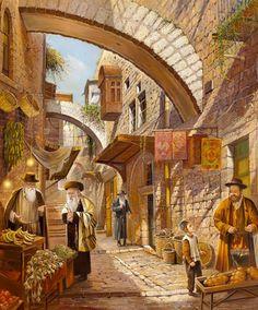 Jerusalem - the Old City and more. Beautiful artwork and paintings by Alex Levin of Tel Aviv, Israel Shabbat Shalom Images, Arte Judaica, Temple In Jerusalem, Arabian Art, Biblical Art, Jewish Art, Environment Concept Art, Old City, Beautiful Artwork