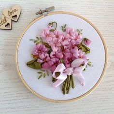 Items similar to Silk ribbon embroidery Bouquet of violets Anniversary gift for wife Floral embroidery hoop art on Etsy Embroidery Designs, Ribbon Embroidery Tutorial, Silk Ribbon Embroidery, Embroidery Hoop Art, Embroidery Supplies, Embroidery Stitches, Floral Embroidery, Embroidery Saree, Embroidery Jewelry