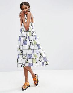 ASOS+AFRICA+x+Chichia+Extreme+Swing+Midi+Dress+in+Grid+Print