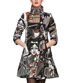 Look at this #zulilyfind! Black & White Graphic A-Line Peacoat by Desigual #zulilyfinds