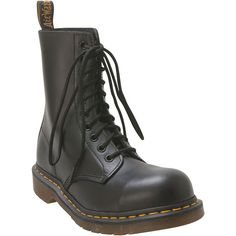 Dr. Martens Women's 1919 Steel-Toe Combat Boot (185 CAD) ❤ liked on Polyvore featuring shoes, boots, black, steel toe work boots, leather lace up boots, safety toe work boots, black military boots and black leather boots