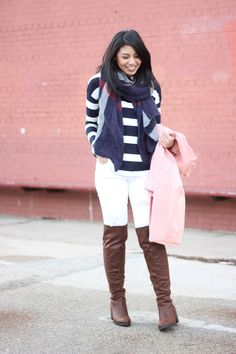 casual valentine's day with pink coat, stripe shirt and plaid oversized scarf.