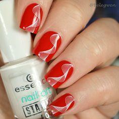 Red nails with white decorations White Decor, Red Nails, Nail Art Designs, Nailart, Nail Polish, Decorations, Red Toenails, Red Nail, Nail Polishes