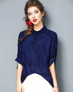 #VIPme Navy Blue Embroidery High Low Silk Shirt ❤️ Get more outfit ideas and style inspiration from fashion designers at VIPme.com.