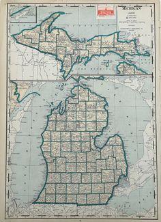 1939 Vintage MICHIGAN Map of Michigan State Map by plaindealing