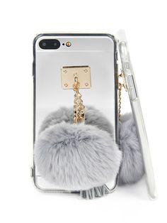 Mirror iPhone Case With Pom -SheIn(Sheinside)
